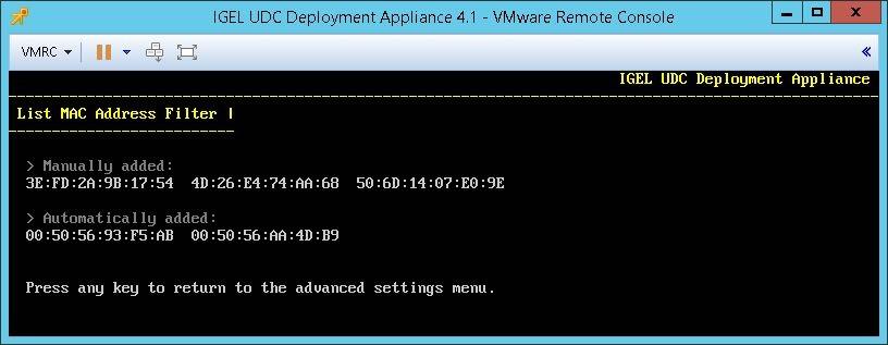 listing the mac address filter udc deployment appliance